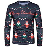 YANG-YI Mens HOT Autumn Winter Christmas Printing Top Long-Sleeved T-Shirt Blouse