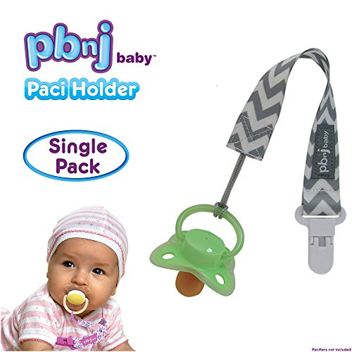 lip Holder Strap Leash Tether for Boys and Girls with Safe Plastic Clip (Gray Chevron - Single) ()