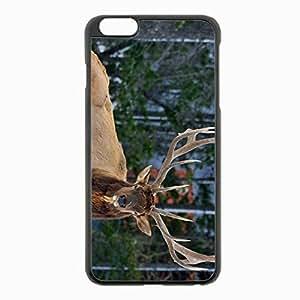 iPhone 6 Plus Black Hardshell Case 5.5inch - deer horns eyes forest Desin Images Protector Back Cover