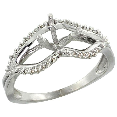 14k White Gold Semi Mount Ring (for 6mm 1 Ct Size) 0.13ct Diamond Accents, 5/16 inch wide, size 10