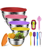 Mixing Bowls with Airtight Lids, 10 pcs Stainless Steel Nesting Bowls Set with Non-Slip Silicone Bottom – Size 2qt, 2.5qt, 3.5qt, 5qt, 7qt for Mixing Serving - Whisk Spatula Egg Yolk Separator