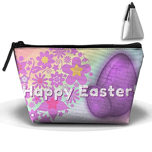 Portable Travel Storage Bags Happy Easter Floral Eggs All Printed Clutch Wallets Big Pouch Purse Zipper Holder For Kits Medicine And Makeup Bag ()
