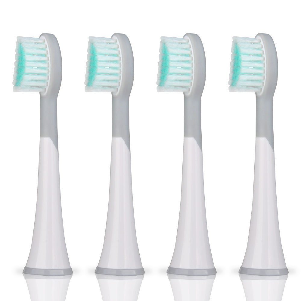4pcs White Sensitive Replacement Toothbrush Heads with Caps for Mornwell D01/D02 Electric Toothbrush