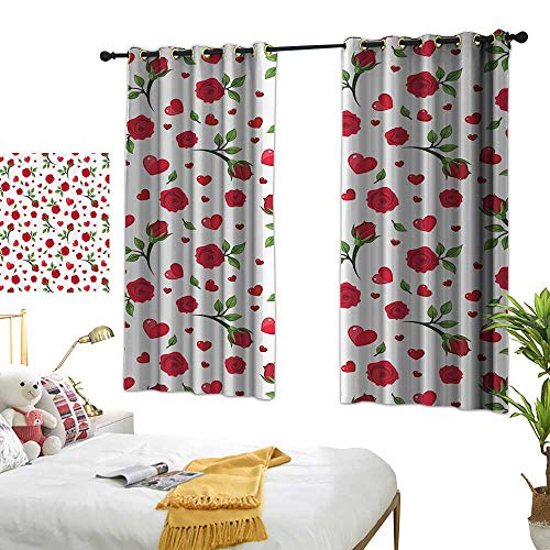 Sheer Curtains Roses Decorations Collection,Roses and Hearts Romance Blossoms Lovely Sweet Valentine Gift Sensual Design,Red White Green 72