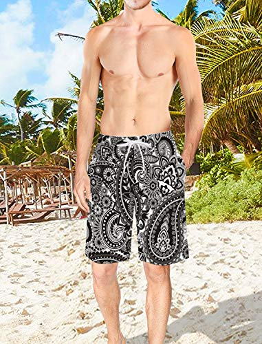 Voguard Mens 3D Printed Swim Trunks Mandala Indian Elephant Summer Beach Shorts with Elastic Waist Drawstring M