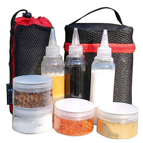 WGIA Portable Spice Jars Set of 7 Sauce Condiment Storage Container Bottles with Carry Bag, Perfect for Outdoor Camping BBQ Picnic