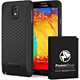 PowerBear Samsung Galaxy Note 3 Extended Battery [7500mAh] & Back Cover & Protective Case (Up to 2.3X Extra Battery Power) - Black [24 Month Warranty & Screen Protector Included]