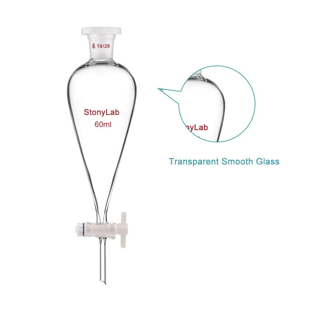 StonyLab Borosilicate Glass 1000ml Heavy Wall Conial Separatory Funnel with 24//29 Joints and PTFE Stopcock 1000ml