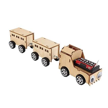 Amazoncom Toyvian Electric Wooden Train Construction Kit Diy Model