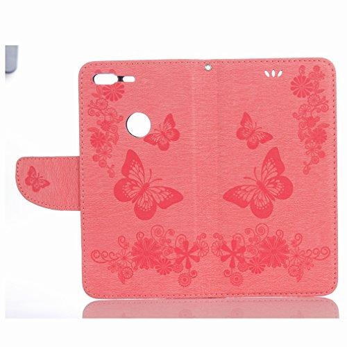 Yiizy Google Pixel Custodia Cover, Farfalla Fiore Design Sottile Flip Portafoglio PU Pelle Cuoio Copertura Shell Case Slot Schede Cavalletto Stile Libro Bumper Protettivo Borsa (Rosa)