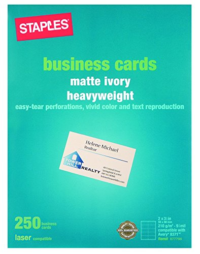 Staples Laser Business Cards, Ivory, 250/Pk (Staples Cards Business)
