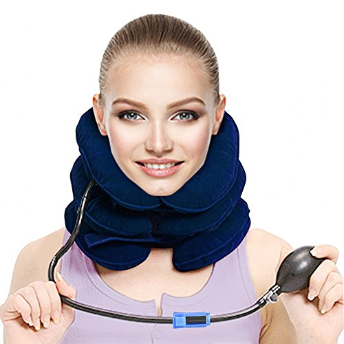 Colpure Cervical Neck Traction Device, Inflatable & Adjustable Cervical Traction Device Neck Pillow for Home Traction Spine Alignment, Instant Pain Relief for Chronic Neck and Shoulder Pain(Blue) (Pipe Valve Assembly)