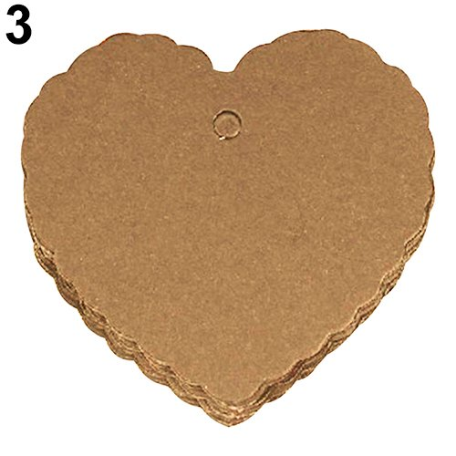 Baost 50Pcs Wave Edge Heart Shape Kraft Paper Gift Wrap Tags Blank Label Price Tags Wedding Party Cards Craft Hang Tags for DIY Arts Crafts, Christmas Thanksgiving Holiday ()