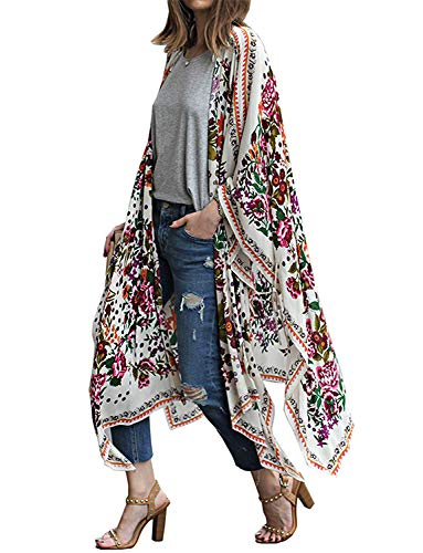Women's Long Chiffon Kimono Summer Cardigan Beach Bathing-Suit Open Cover-Ups (L)