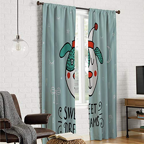 Room Darkening Noise Reducing Curtains Sweet Dreams,Cartoon Dog with Hat on a Heart Moon and Stars Background Doodle Style Animal,Multicolor W84 x L108 Inch