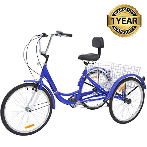 Slsy Adult Tricycles 1 7 Speed, Adult Trikes 24 26 inch 3 Wheel Bikes, Three-Wheeled Bicycles Cruise Trike with Shopping Basket for Seniors, Women, Men.