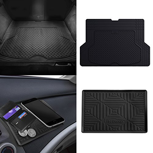Carlo Mat Cover Monte Dash - FH Group F16406 Premium Trimmable Rubber Cargo Mat w. FH3011 Silicone Anti-Slip Dash Mat, Black Color- Fit Most Car, Truck, SUV, or Van
