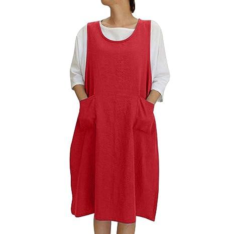 Amazon.com: Delantal sin mangas de algodón suave y lino ...