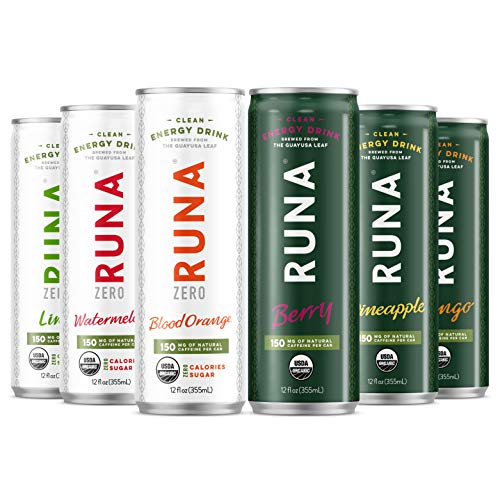 RUNA Clean Energy Drink from the Guayusa Leaf, 6 Flavor Sampler Pack, 12 oz (Pack of 6)