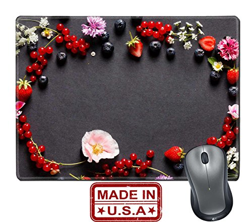 """Liili Natural Rubber Mouse Pad/Mat with Stitched Edges 9.8"""" x 7.9"""" IMAGE ID 32013835 summer berries and flowers"""
