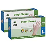 Clear Powder Free Vinyl Disposable Plastic Gloves (200 Large)