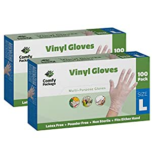 Clear Powder Free Vinyl Disposable Plastic Gloves [200 Pack] - Large