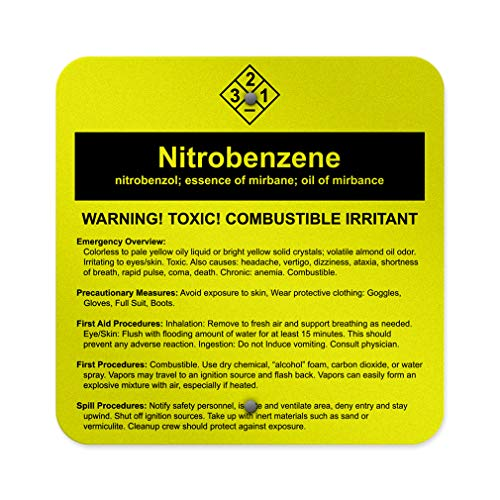 - Aluminum Weatherproof Metal Sign Multiple Sizes Nitrobenzene Nitrobenzol; Essence of Mirbane; Oil of Mirbane 18INx18IN Square Street Signs Set of 10