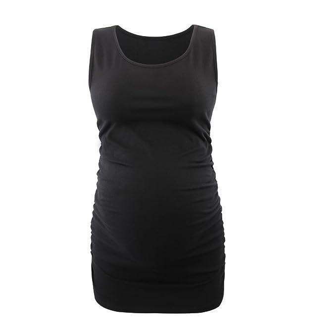 ZUMIY Top Premamá, Top de Maternidad Embarazada, Algodón de Las Mujeres Acanalada Camisa de