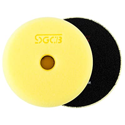 "SGCB 3"" RO/DA Buffing Pad Foam Polishing Sponge Pad, Medium Heavy Cutting Flat Buffing Pad Fine Smooth Hook & Loop Finishing Grinding Foam Disc Pad for Scratch Swirl Defect Removing, 1-Yellow: Automotive"