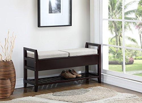 Roundhill Furniture 3432EP Vannes Espresso Storage Shoe Bench by Roundhill Furniture