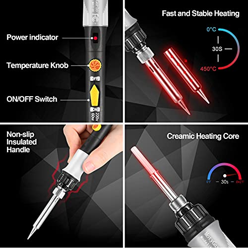 Soldering Iron Kit, Solder Gun with Adjustable Temperature and Fast Heating Ceramic Thermostatic Design, ON-OFF Switch, 5 pcs Soldering IronTips, Solder Wire, Stand, Welding Tool from MotyGarlo