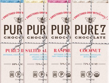 Honey Chocolate Raspberry - Bundle – 4 items: Pure7 Honey Sweetened Dark Bar, Salted Almond Bar, Raspberry Bar, Coconut Bar. (Organic, Kosher & Paleo Chocolate).!