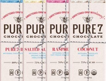 Bundle - 4 items: Pure7 Honey Sweetened Dark Bar, Salted Almond Bar, Raspberry Bar, Coconut Bar. (Organic, Kosher & Paleo Chocolate).!