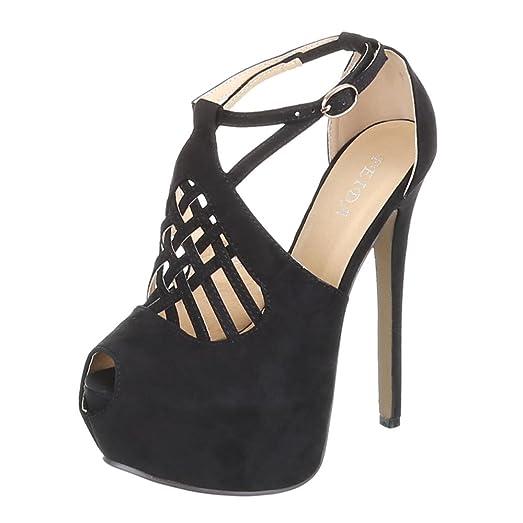Ital-Design Zapatos de Tacón Mujer, Color Negro, Talla 40