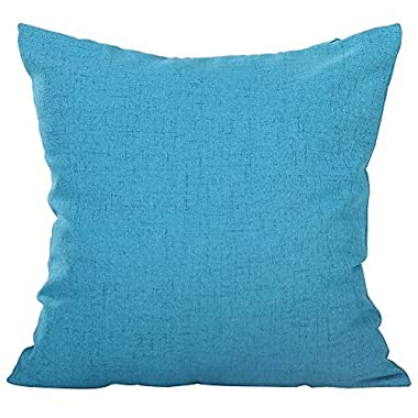 Deconovo Faux Linen Look Throw Cushion Case Pillow Cover With Invisible Zipper for Travel Use 18 x 18 Inch Blue Atoll NO PILLOW INSERT