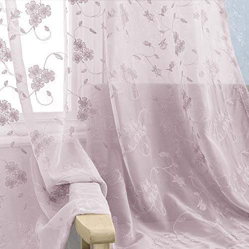 Sheer Curtains for Bedroom Rod Pocket Violet Vintage Floral Embroidered Voile Curtain for Living Room 84 inch Length Lilac Window Treatment 2 Panels ()