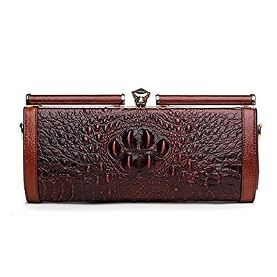 Ainifeel Women's Crocodile Embossed Genuine Leather Clutch Wallets Evening Purse