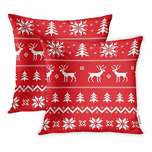 Emvency Set of 2 Throw Pillow Covers Decorative Cases Red Reindeer Winter Sweater Deer Snowflake and Christmas Tree Nordic 16x16 Inch Cover Cushion Pillowcase Square Case Print (Cushion Reindeer)