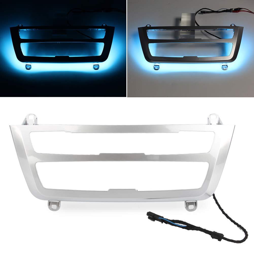 GZYF Double Color AC/Radio Trim, Dual LED Luminescent Bezel Decoration Fits BMW F30 F3X 3 4 M3 M4 Retrofit, Silver