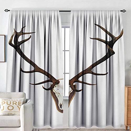 (NUOMANAN Print Pattern Curtains Antlers,Antlers of a Huge Stag,Bones Mounted on a Wooden Plate Prize Skull Print,Brown Pale Grey,for Room Darkening Panels for Living Room, Bedroom)