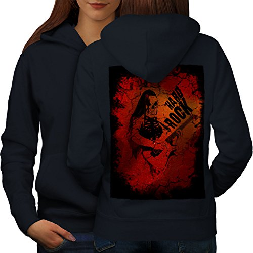 wellcoda Hard Rock Guitar Music Womens Hoodie, Dead Print on The Jumpers Back Navy 2XL