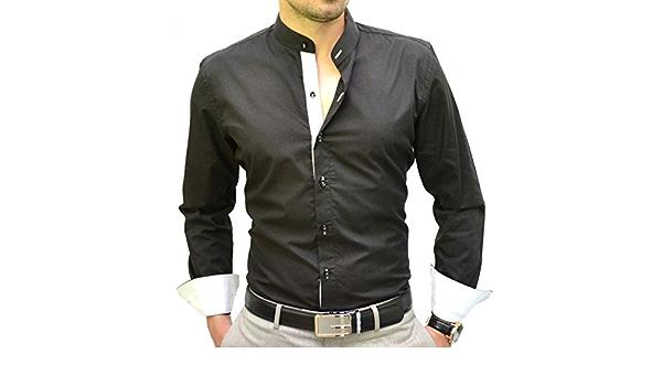 IRMAO Camisa Italiana Cuello Mao Negra y Blanca Blanco Blanco ...