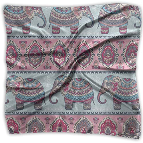 (Square Scarf Vintage Graphic Indian Elephant Mandala Scarves Unisex Handkerchief Tie For Adults)