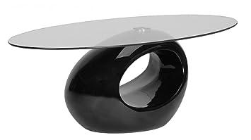 Tavolino salotto moderno vetro design NERO ovale Bayahibe: Amazon ...