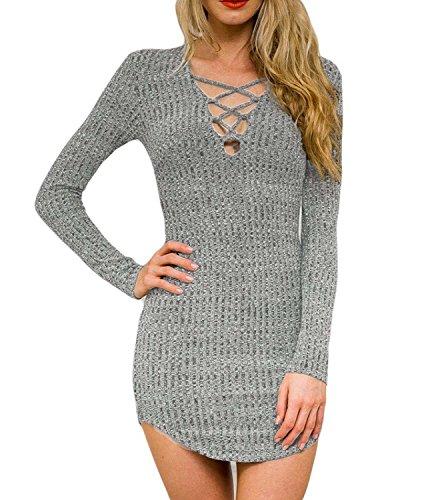 DREAGAL Ladies Deep V Neck Bodycon Mini Sweater Dress Top Grey Medium