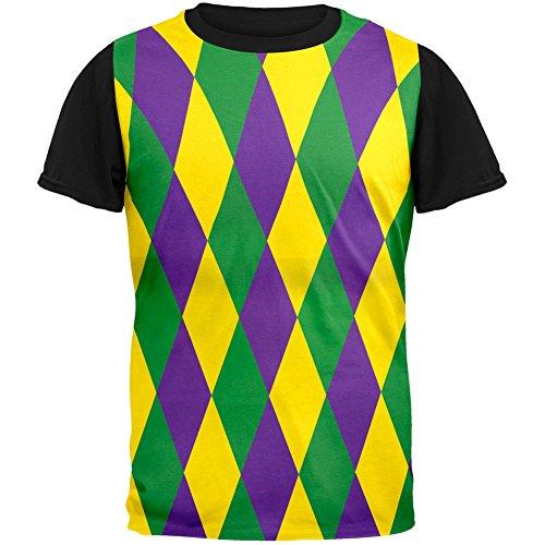Mardi Gras Jester Costume Adult Black Back T-Shirt - Medium - Mardi Gras Costumes Designers