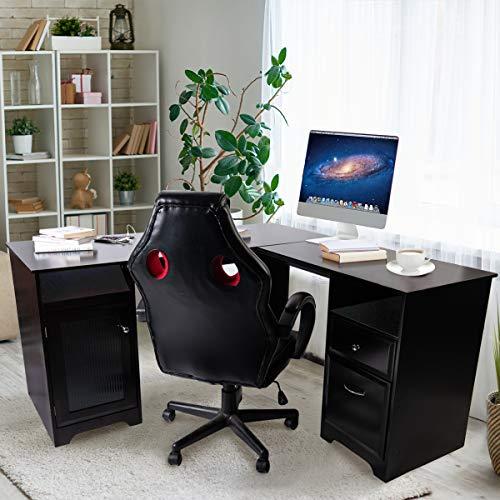 Upscale Decor L-Shaped Home Office Computer Desk, Espresso