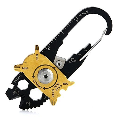 Suyizn herramienta multifunción de bolsillo EDC 20en 1, martillo de acero inoxidable, destornillador, llave, alicates, abridor, llavero.