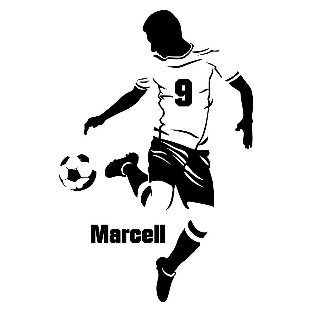 Malango® Malango® Malango® Wandtattoo Fussballer mit Wunschname Spieler Ball Fussballfan Wanddekoration Fussballspieler Name Fan Sport Freizeit Hobby Wanddesign ca. 93 x 140 cm schwarz B01894FA6W Wandtattoos & Wandbilder 979899