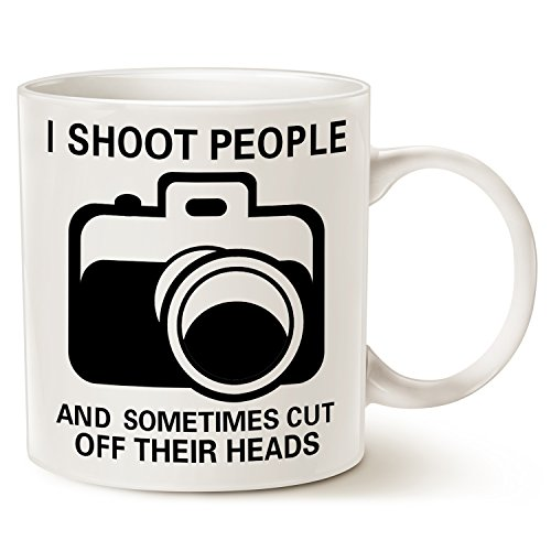 Funny Photographer Coffee Mug Christmas Gifts - I Shoot People and Sometimes Cut Off Their Heads - Unique Gag Gifts for Photography Lover Ceramic Cup White, 14 Oz